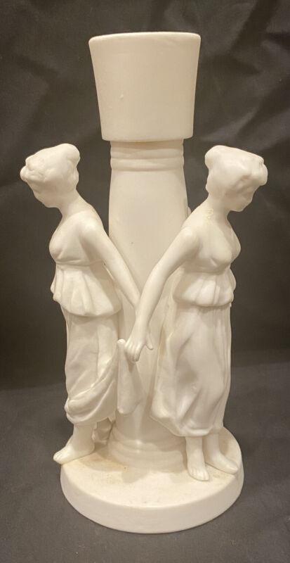"""Vintage Porcelain Bisque Figural""""WOMEN Dancing""""  Candle Holder"""
