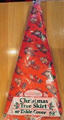 "RARE VINTAGE HALLMARK VICTORIAN SANTA'S CHRISTMAS TREE SKIRT TABLE COVER 52"" MIP"