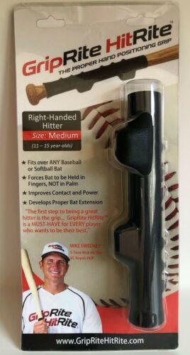GripRite HitRite Baseball Training Grip Right Hand Hitter Size Medium 11-15 yrs