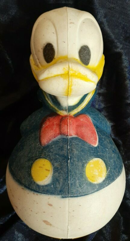 Vintage Walt Disney Donald Duck Plastic Blow Mold Rolly Polly Wobble Musical Toy