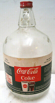 One Gallon Coke Coca Cola Syrup Jug Fountain Soda Bottle Original Label Vintage
