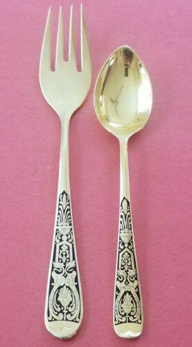 Alpaca San Juan Nickel Silver Gold Plated Scroll Design 12 Teaspoon 12 Fork Lot