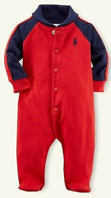 BNWT Ralph Lauren Polo Baby Boys Footed Romper Coverall Babygrow 3M RRP £59