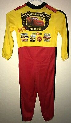 DISNEY CARS HALLOWEEN COSTUME BOYS size 4/6 YELLOW RED RACE JUMPSUIT one piece - Race Car Suit Costume