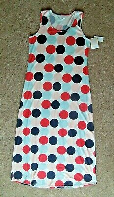 LuLaRoe Dani Dress 2XL ~ Big DOT Red Pink Navy Aqua on WHITE ~ TRENDY VACATION Big Dot Dress