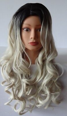 Costume Cosplay Wig Long Curly Wavy Two Tone Ash Blonde Ombre Dark Root Wigs - Ash Female Cosplay