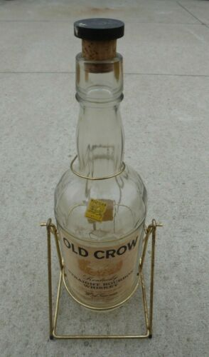 Vintage Old Crow Whiskey One Gallon Bottle Tipping Gold Wire Stand Empty