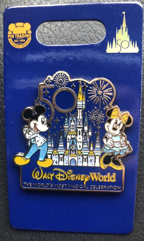 Walt Disney World 50th Anniversary Pin Castle Mickey Minnie Mouse Magic Kingdom