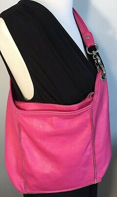 INNUE ITALY Hot Pink Leather Shoulder Hobo Tote Satchel Purse Bag