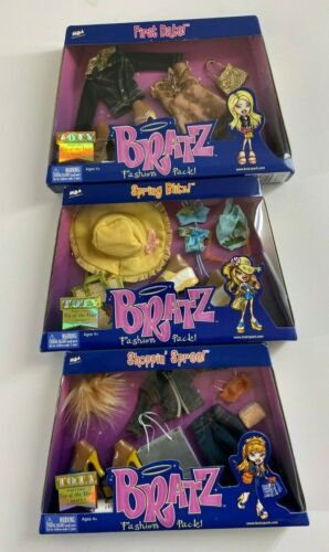 3 PACK FULL COLLECTION BRATZ GIRLS DOLL FASHION PACK CLOTHES W/ SHOES DARK SKIN