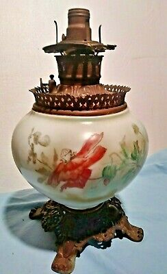 Antique Hand Painted Floral White Milk Glass GWTW Oil Lamp Base w Brass Fixture