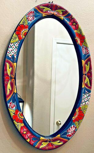 Talavera Mexican Pottery Mirror Wall Folk Art Hanging