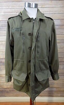 (Know1edge Green Military (M-65 style) Hooded Skateboard Jacket Plaid Lining S/M)