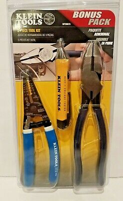 Klein Electrician Tool Set 3-piece Pliersstripper And Voltage Tester-usa-tools