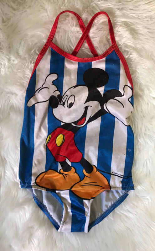 Vintage Union Made Mickey Mouse Bathing Suit Girls 4T 5//6 Blue Stripes