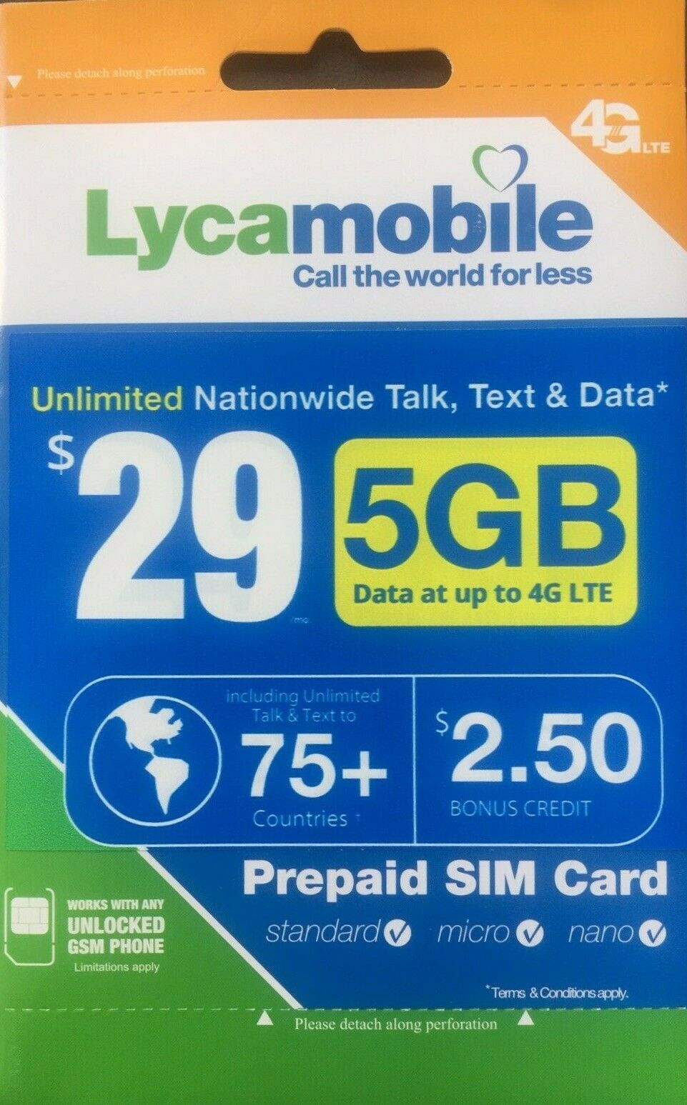 LYCAMOBILE Preloaded Sim Card Prepaid $23/$29/$35/$39 1/2/3