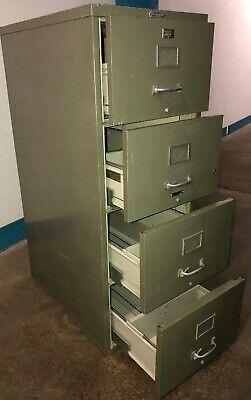 Vtg Victor Firemaster 4 Drawer 1 Hr Fireproof File Cabinet Army Green- No Key