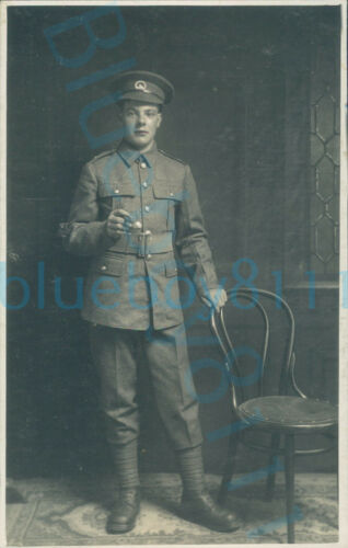 WW1 South Wales Borderers Soldier studio photo by chair swagger stick