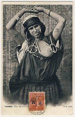 Tunesia BUSTY WOMAN w TATTOOS / FRAU ZEIGT BRUST * Vintage 1900s Ethnic Nude PC
