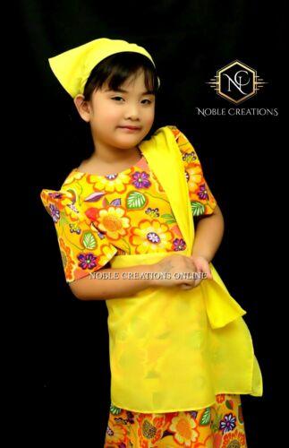 KIDS FILIPINIANA DRESS Floral Patadyong Philippine National Costume - Yellow