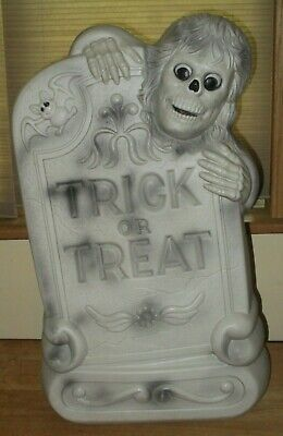 """Trick or Treat Tombstone 29"""" Halloween Lighted Blow Mold Grave Skeleton Bat"""