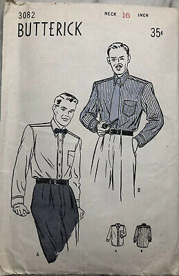 1940s Men's Shirts, Sweaters, Vests Vintage 1940s 50s Butterick PATTERN 3082 Men's Regulation Shirt Straight Cuff $10.71 AT vintagedancer.com