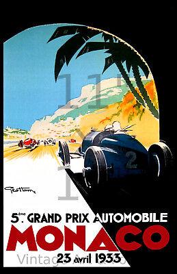 - Vintage Racing Poster/Print - 1933 Monaco Grand Prix - 11x17 inches