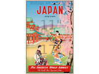 Pan Am Colorful 11x17 inch Vintage Airline Travel Poster Japan