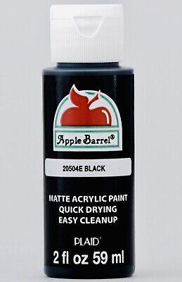 4 PACK, Plaid Apple Barrel Acrylic Craft Paint, BLACK, 2 fl oz bottles, 1st CM.