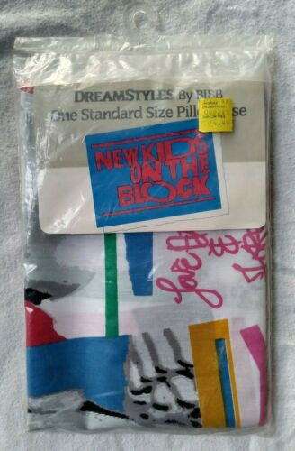 NEW SEALED New Kids On The Block Pillow Case 1990 DreamStyles BIBB Fortel NKOTB