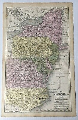 ca 1850s Vintage Original Mitchell's Map of the Middle States & Part of Southern
