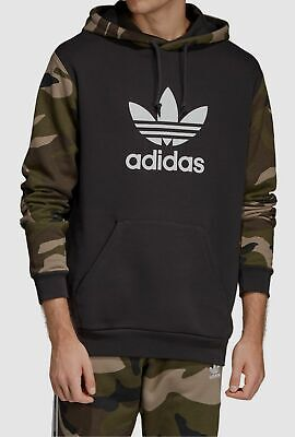 $385 Adidas Men Black Green Camo Pullover Hooded Sweatshirt Sweater L *REPAIRED*