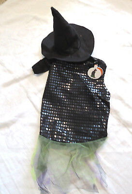 Pet Halloween Costume Witch Dress with Hat for Dog or Cat Size M Medium NEW](Medium Dog Costumes For Halloween)