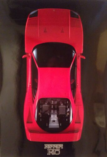 Ferrari F-40 Top View Factory Car Poster Extremely Rare! Own It!