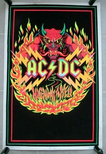 Original 1983 AC/DC #944 Highway To Hell Black light Felt 35x23 Poster ~ Vintage