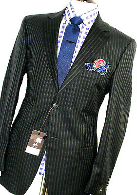 BNWT MENS ERMENEGILDO ZEGNA STRIPEY HERRINGBONE DARK NAVY 2 BUTTON SUIT 42R...