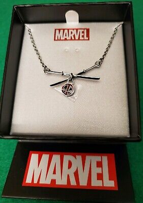 Marvel Deadpool Sword Logo Pendant Stainless Steel Necklace