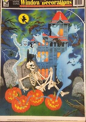 Halloween Decorations Coloring Pages (2 Vintage Happy Halloween Window Color Clings 2 Pages  Nice Cond. Made In)