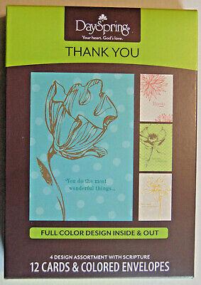 BOX 12 Thank You Christian Greeting Cards, Bible Scripture & Inspirational Verse Bible Greeting Cards