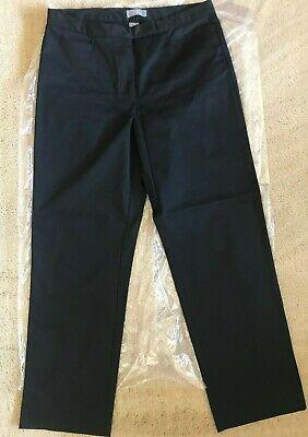 NEW BASS STRETCH Black Khakis Medium-weight Cotton Straight Leg Size 12 NWOT ()