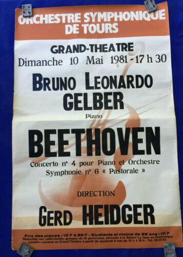 1981 classical music POSTER beethoven BRUNO LEONARDO GELBER piano GERD HEIDGER