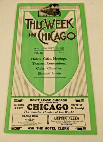 1927 THIS WEEK IN CHICAGO Entertainment GUIDE -Theatre Burlesque Restaurants