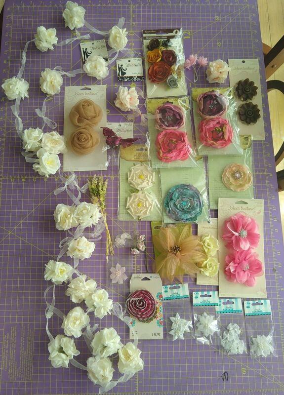 Big LOT Flower embellishments Fabric Prima Recollections Jolee
