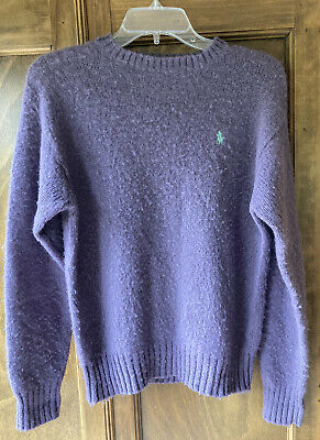 80s Sweatshirts, Sweaters, Vests | Women Vintage 1980's Polo Ralph Lauren Purple Shetland Wool Crewneck Pullover Sweater $17.50 AT vintagedancer.com