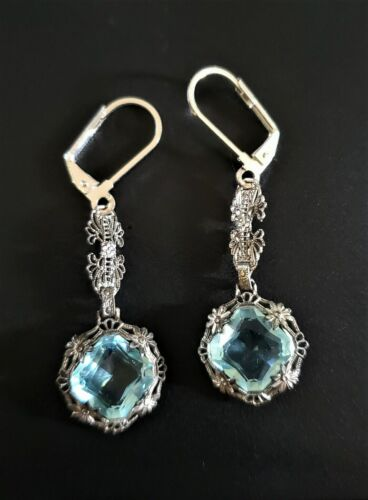 Art Deco Aquamarine Paste Glass Filigree Earrings Sterling Silver Antique Blue