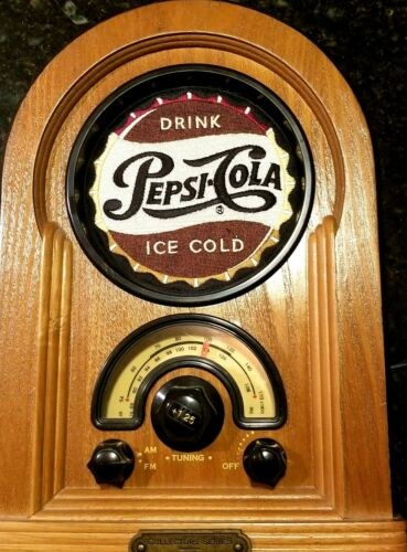 Vtg Pepsi-Cola Wood Tabletop Jukebox Pepsi AMFM Radio 1996 Collector