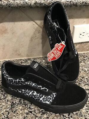 VANS Women Old Skool Ward Animal Sneakers Sz 7 M Shiny Blue & Black Cheetah  (Cheetah Vans Women)