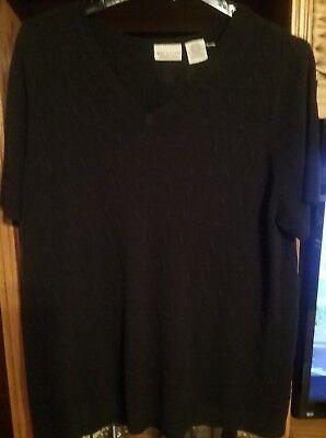 Bargain Practical Black WHITE STAG Plus Size 26W/28W  Rib Knit Top Acrylic  (Plus Size Bargains)
