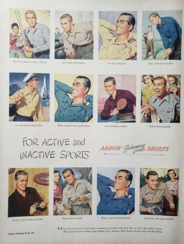Vintage 1948 Arrow Gabanaro Sports Shirts Print Ad Ephemera Art Decor