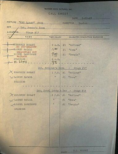 "HUMPHREY BOGART RARE ORIG. 1948 ""KEY LARGO"" WARNER BROTHERS STUDIO ""CALL SHEET""!"